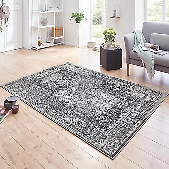 Designer velour carpet plume Grau Blau