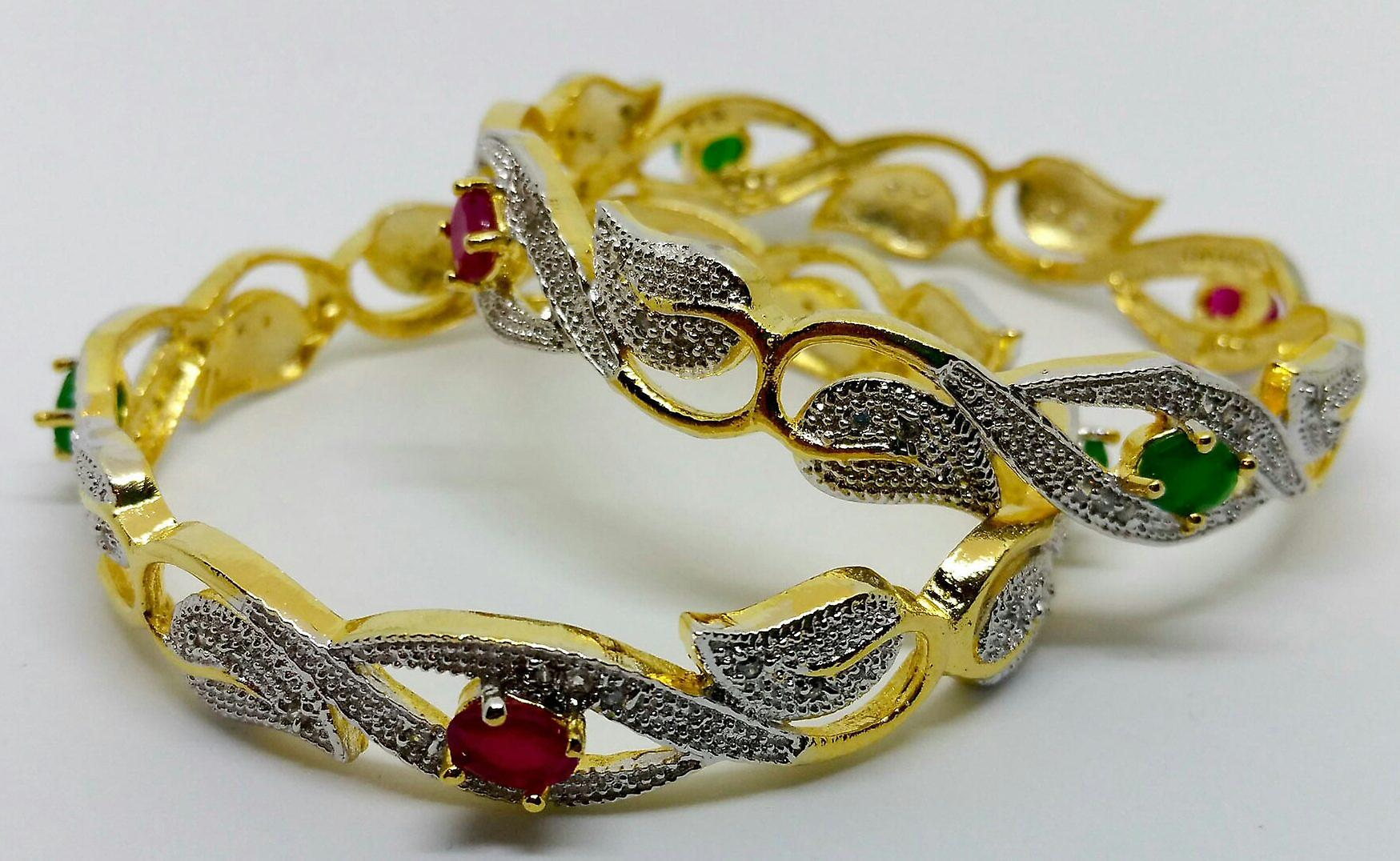 Gold Plated Semi Precious Red & Green Gemstones Leaf Design Bangles Set - 6cm