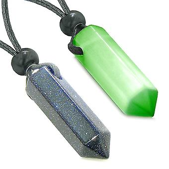 Yin Yang beste vrienden hou paren gelukkige Crystal wijst Goldstone groene Cats Eye Amulet kettingen