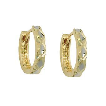 Creole 12x3mm hinged flip top bicolor 9Kt GOLD diamantiert