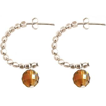 Damen Ohrringe 925 Silber Loop Gold Orange 3 cm