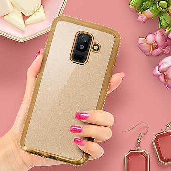 Caso de glitter glam, cubierta protectora para el Samsung Galaxy A6 Plus - oro