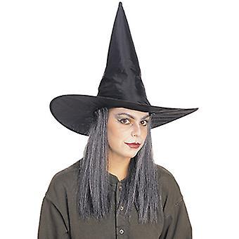 Chapéu de bruxa com cabelo grisalho