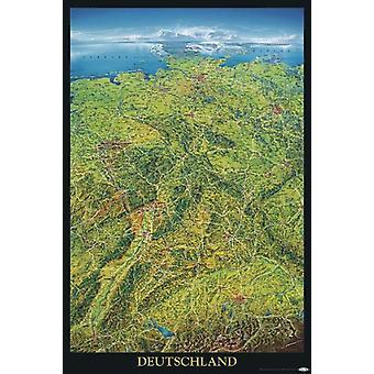 Deutschland Poster  geographische Panorama-Karte Bundesrepublik Deutschland