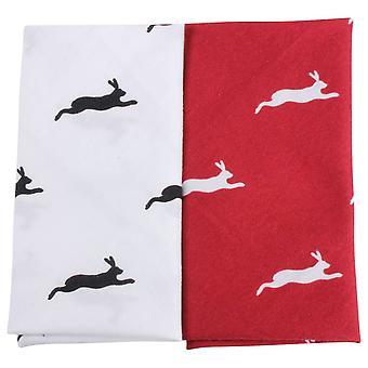 David Van Hagen Hare Handkerchief Set - Red/White