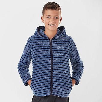 Peter Storm Boy's Teddy streep Hooded fleece blauw Bluemoon