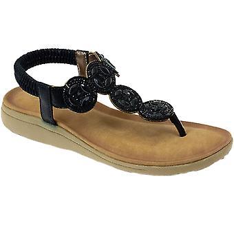 JLH795 DULCIE damer vadderad resår Diamante Toe Post sandaler skor