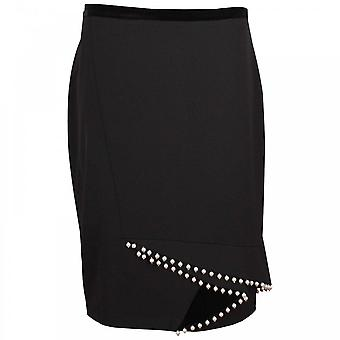 Paola Collection Tailored Black Pencil Skirt With Pearls
