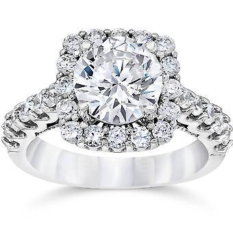 3 Ct (2Ct center) Cushion Halo Enhanced Diamond Engagement Ring 14K White Gold