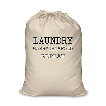 Laundry Bag Wash Dry Fold Repeat 100% Natural Cotton