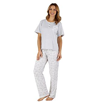Slenderella PJ3128 Women's Cotton Jersey Grey Butterfly Pajama Pyjama Set