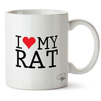 Hippowarehouse I Love My Rat Printed Mug Cup Ceramic 10oz