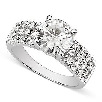 14K białe złoto Moissanite przez Charles idealna Colvard 8.5mm okrągłe pierścionek zaręczynowy, 2.92cttw rosy