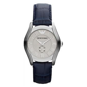 Emporio Armani Ar1668 senhoras couro azul com mostrador prateado Watch