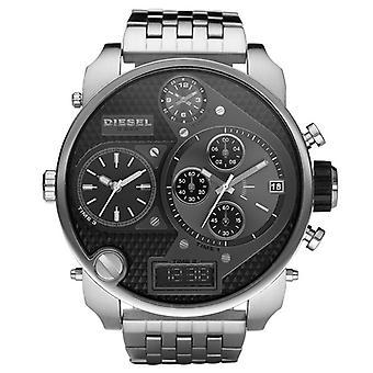 Diesel Dz7221 Silver Black Stainless Steel Chronograph Mens Watch