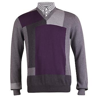 Peter Werth Long Sleeve Colour Block Knit, Silver