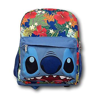 Small Backpack - Lilo and Stitch - Stitch Face Hawaiian Flower New 124540-2