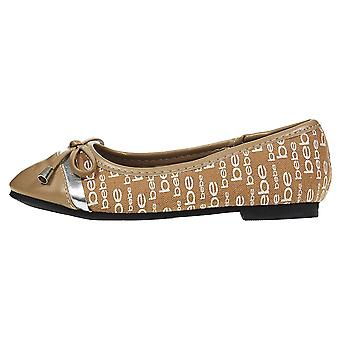 Girls Ballet Flats Round Toe with Bow and Logo Print Slip-On Shoes