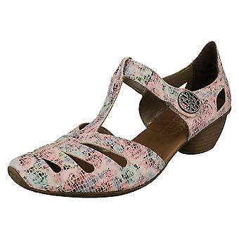 Ladies Rieker T Bar Heeled Shoes 43750