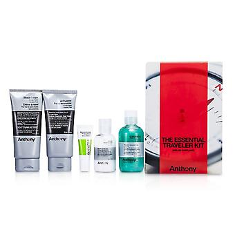 Anthony logistica pentru barbati Kit de Traveler esențiale: cleanser + Mositurizer + buza blam + Shave crema + Hair & Body Wash 5buc