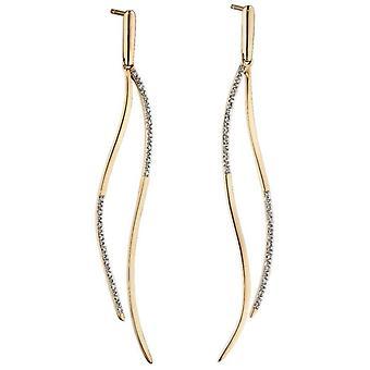 Elements Gold Statement Diamond Drop Earrings - Gold/Silver