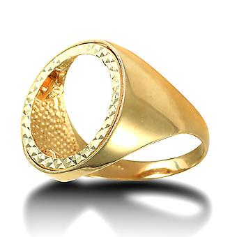 Jewelco London Men's Solid 9ct Yellow Gold Domed Polished Half Sovereign Mount Ring