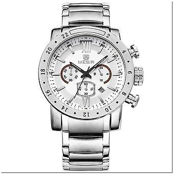 Megir Mens Homage Quartz Analogue Watch Silver Beige Date Smart Watches UK