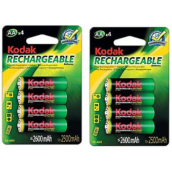 8x Kodak rechargeable AA battery NiMH  2600 mAh batteries