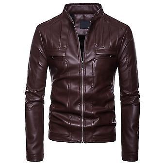 Allthemen Men's Stand Collar Fold Design Zipper Leather Jacket