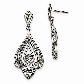 Stainless Steel Polished and Textured Post Long Drop Dangle Earrings Jewelry Gifts for Women