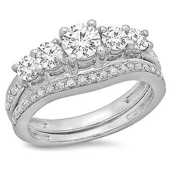 Dazzlingrock Collection 1.50 Carat (ctw) 14K Round Diamond 5 Stone Bridal Engagement Ring Set 1 1/2 CT, White Gold