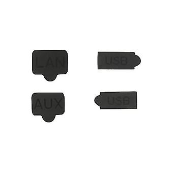 Silicone rubber dust cover port plugs aux usb lan for sony ps4 playstation 4 - black