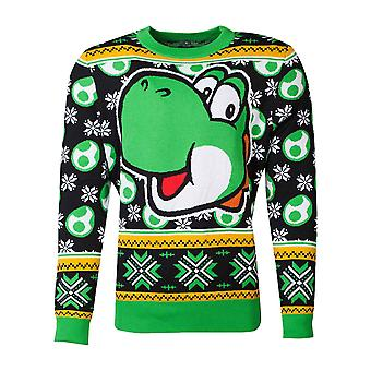 Super Mario Christmas Jumper Yoshi Knitted new Official Nintendo Green Unisex