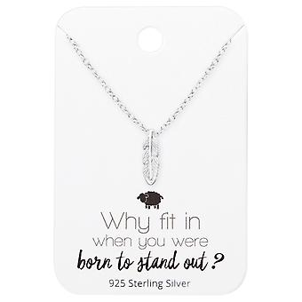 Feather Necklace On Motivational Quote Card - 925 Sterling Silver Sets - W35909x