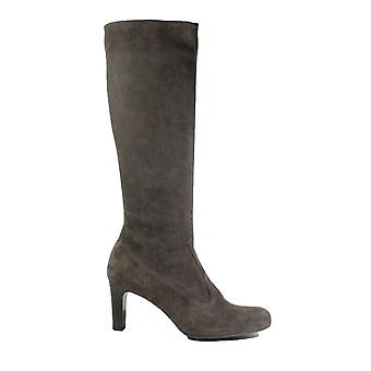 Peter Kaiser Levke Grey Suede Leather Womens Pull On Knee High Heeled Boots