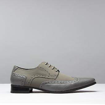 Mister Carlo Artista Mens Pointed Faux Suede/leather Shoes Grey