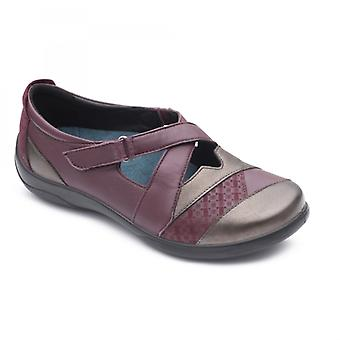 Padders Basset Ladies Leather Extra Wide (2e/3e) Shoes Plum
