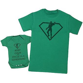 Halten Sie ruhig mein Onkel ist ein Superheld passende Vater Baby Geschenk-Set - Mens T Shirt & Baby Body