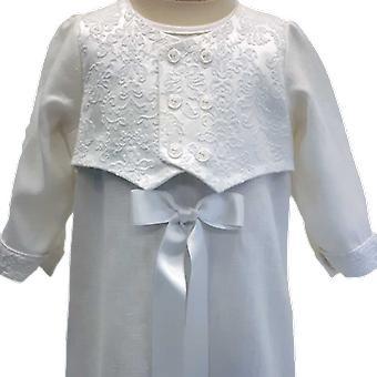 Dopklänning Grace Of Sweden, Med Matt Brokad-väst, Vit Rosett