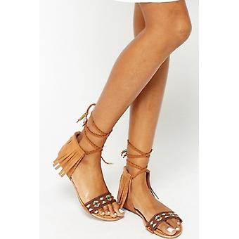 Rodeo Camel Aztec Tassel Sandals