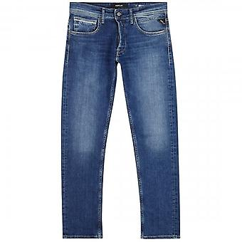 Replay Grover Straight Fit Blue Washed Denim Jeans MA972 213 586 010