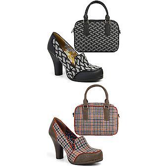 Ruby shoo Kaylee svart vit hög klack domstol sko & matchande Austin väska