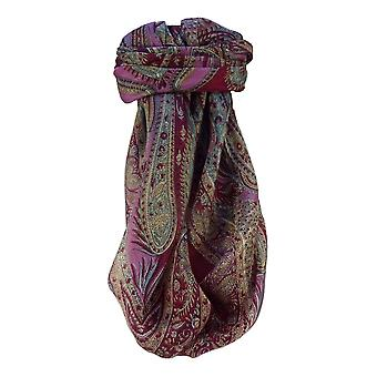 Mulberry Silk Traditional Square Scarf Chatur Wine by Pashmina & Silk