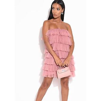 Layered Frill Tulle Halterneck Mini Dress Pink
