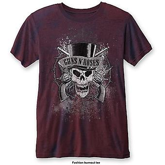Red Guns n' Roses Faded Skull Burnout Oficial Tee T-Shirt Mens Unsex