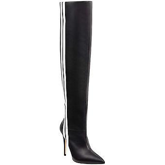 GUESS Womens Orianne Leather Striped Thigh-High Boots Black 8.5 Medium (B,M)