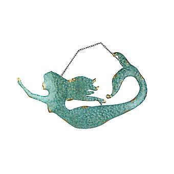 Sea Foam Green Metal Mermaid Wall Hanging Decorative Accent Art Sculpture Sign