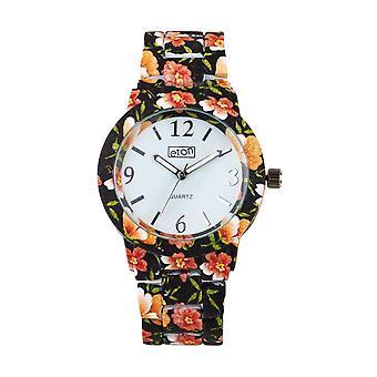 Eton Black Floral Print Boyfriend Style Bracelet Watch 3150L-BK