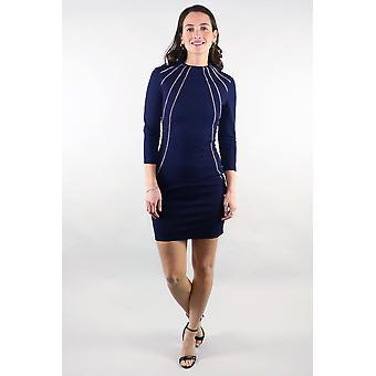 Nicole 3/4 sleeve chain trim navy dress