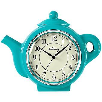 Atlanta 6125/6 kitchen clock wall clock kitchen quartz analog motif coffee pot turquoise